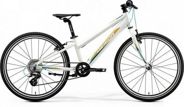 Велосипед 24″ Merida MATTS J.24 RACE Glossy White (TealL/Gold) 2020