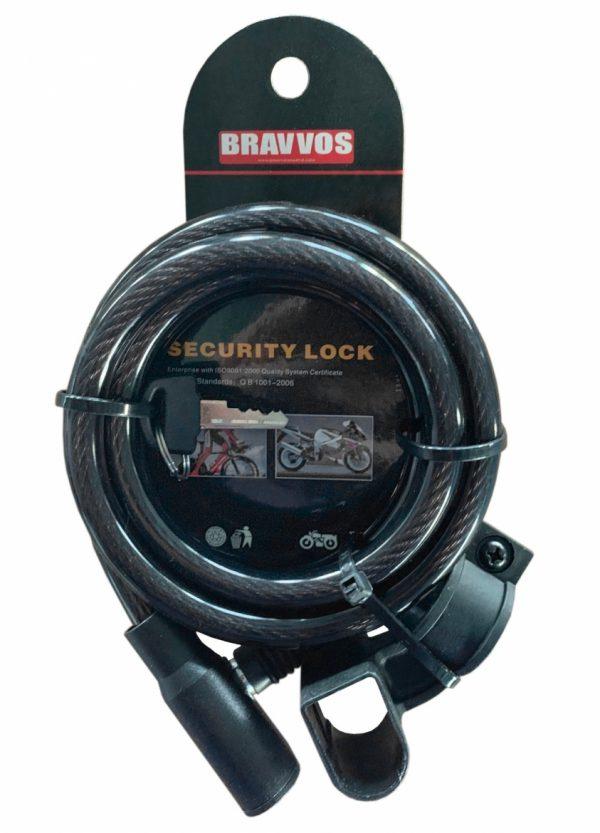 Велозамок Bravvos LOC-045-055 на ключе со стальным тросом 10 мм х 1500 мм