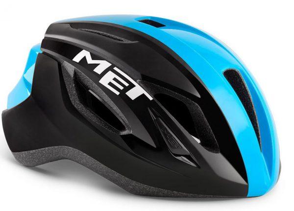 Шлем MET Strale Black/Cyan Panel (глянцевый)