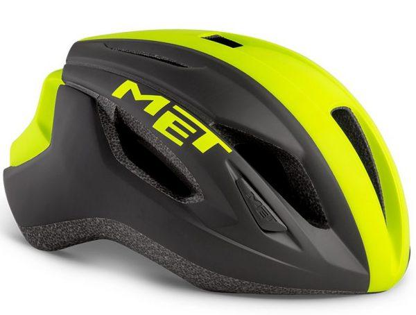 Шлем MET Strale Black Safety Yellow Panel (матовый)